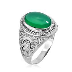 White Gold Green Onyx Lucky Horse Shoe Gemstone Ring