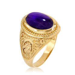 Yellow Gold Purple Amethyst February Lucky Horse Shoe Birthstone Ring