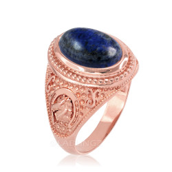 Rose Gold Lapis Lazuli Lucky Horse Shoe Gemstone Ring