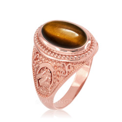 Rose Gold Tiger Eye Lucky Horse Shoe Gemstone Ring