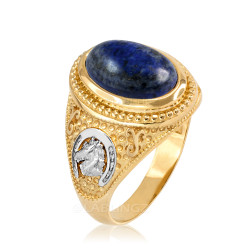 Two-Tone Yellow Gold Lapis Lazuli Lucky Horse Shoe Gemstone Ring