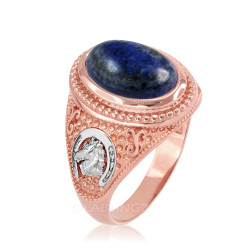 Two-Tone Rose Gold Lapis Lazuli Lucky Horse Shoe Gemstone Ring