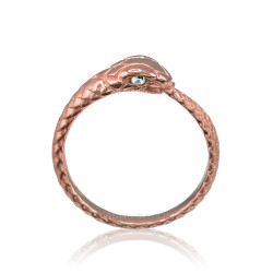 Rose Gold Ouroboros Snake Diamond Ring
