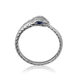 White Gold Ouroboros Snake Blue Sapphire Ring