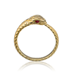 Gold Ouroboros Snake Ruby Ring