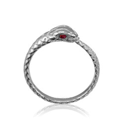 White Gold Ouroboros Snake Ruby Ring