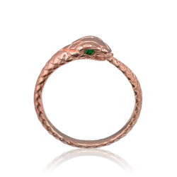 Rose Gold Ouroboros Snake Emerald Ring