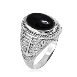 Sterling Silver Marine Anchor Black Onyx Gemstone Ring