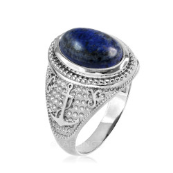 White Gold Marine Anchor Lapis Lazuli Gemstone Ring