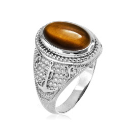 White Gold Marine Anchor Tiger Eye Gemstone Ring
