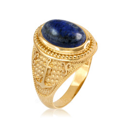 Yellow Gold Marine Anchor Lapis Lazuli Gemstone Ring