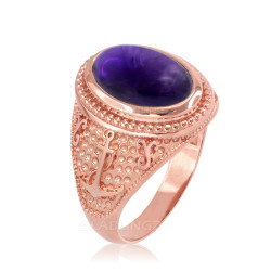 Rose Gold Marine Anchor Purple Amethyst Birthstone Ring