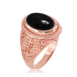 Rose Gold Marine Anchor Black Onyx Gemstone Ring
