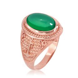 Rose Gold Marine Anchor Green Onyx Gemstone Ring
