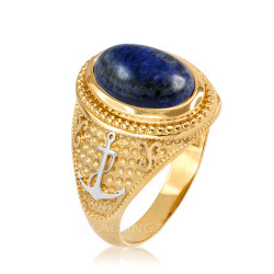 Two-Tone Yellow Gold Marine Anchor Lapis Lazuli Gemstone Ring