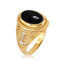 Two-Tone Yellow Gold Marine Anchor Black Onyx Gemstone Ring