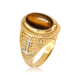 Two-Tone Yellow Gold Marine Anchor Tiger Eye Gemstone Ring
