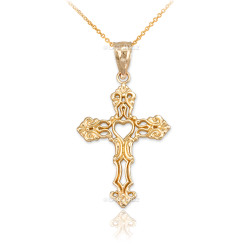 Gold Open Heart Cross Charm Pendant Necklace