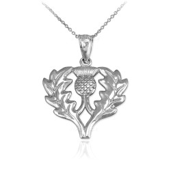 White Gold Scottish Thistle Pendant Necklace