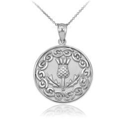 Sterling Silver Scottish Thistle Medallion Pendant Necklace