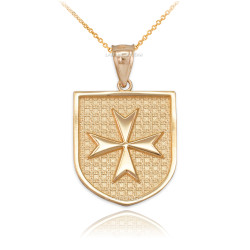 Gold Templar Knights Hospitaller Maltese Cross Badge Pendant Necklace