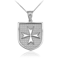White Gold Knights Hospitaller Maltese Cross Badge Pendant Necklace