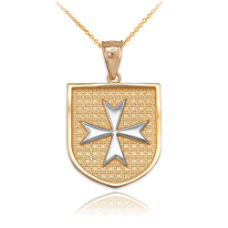 Two-Tone Gold Knights Hospitaller Maltese Cross Badge Pendant Necklace