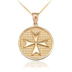 Gold Knights Templar Maltese Cross Medallion Pendant Necklace