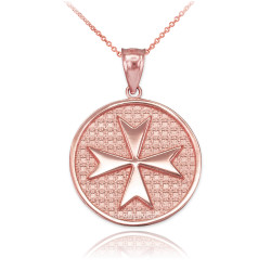 Rose Gold Knights Templar Maltese Cross Medallion Pendant Necklace