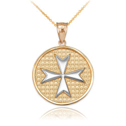 Two-Tone Gold Knights Templar Maltese Cross Medal Pendant Necklace
