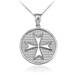 Sterling Silver Knights Templar Maltese Cross Medal Pendant Necklace