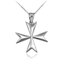 Polished White Gold Maltese Cross Pendant Necklace