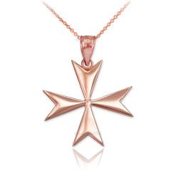 Polished Rose Gold Maltese Cross Pendant Necklace