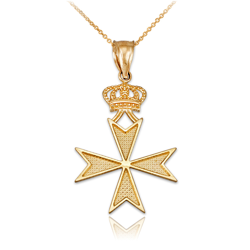 Royal 14k Yellow Gold Crown Charm Pendant Necklace