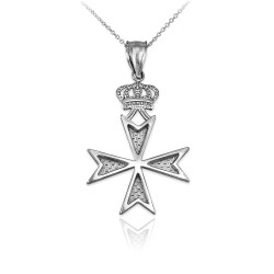 Sterling Silver Maltese Cross Crown Charm Necklace