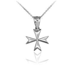 White Gold Maltese Cross Charm Necklace