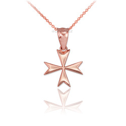 Rose Gold Maltese Cross Charm Necklace