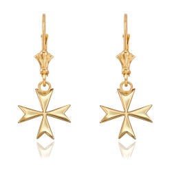 14K Yellow Gold Maltese Cross Earrings