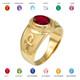 Gold Ankh Birthstone CZ Ring