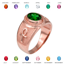 Rose Gold Egyptian Ankh Cross Birthstone CZ Ring