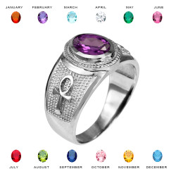 Sterling Silver Egyptian Ankh Cross Birthstone CZ Ring