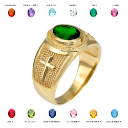 Gold Cross Birthstone CZ Ring