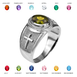 White Gold Christian Cross Birthstone CZ Ring