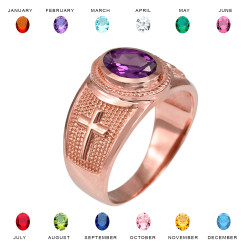 Rose Gold Christian Cross Birthstone CZ Ring