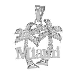White Gold Miami City Pendant Necklace
