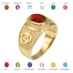 Gold OM CZ Birthstone Ring