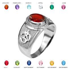 White Gold Om (Aum) Yoga Birthstone CZ Ring