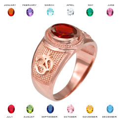 Rose Gold Om (Aum) Yoga Birthstone CZ Ring