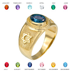 Gold Star of David Jewish Birthstone CZ Ring