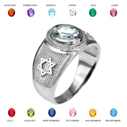 Sterling Silver Star of David Jewish Birthstone CZ Ring